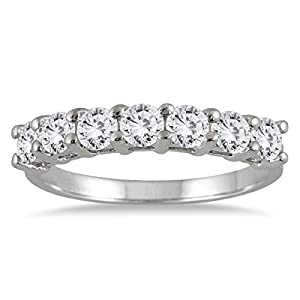 AGS Certified 1 Carat TW Seven Stone Diamond Wedding Band in 14K White Gold (K L Color, I2 I3 Clarity)