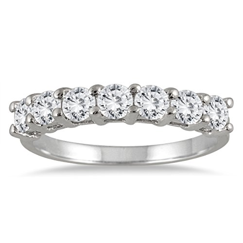 AGS Certified 1.00 Carat Seven Stone Diamond Wedding Band in 14K White Gold (K-L Color, I2-I3 Clarity)