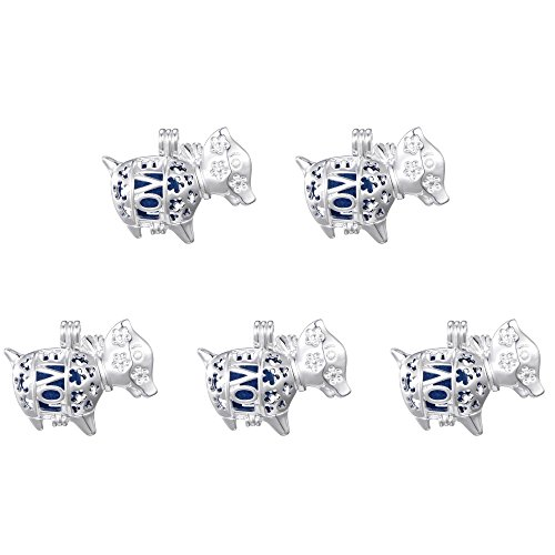 - 10pcs Sliver Plated Dog Aromatherapy Pendant Pearl Beads Cage Pendant Essential Oil Diffuser Jewelry Making Supplies (Style1)
