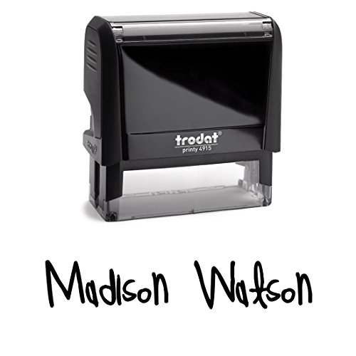 Font Black Ink - Signature Stamp With Unique Custom Font. Self Inking Stamper With Black Ink. Brilliant Name Stamp For Home, Work Or School