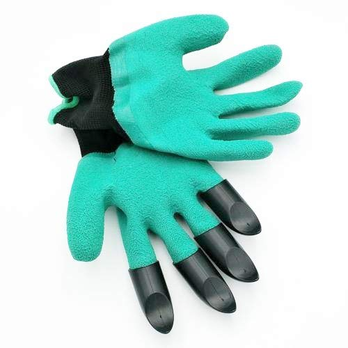 SHOPPER's CHOICE 1 Pair Rubber Cloth Garden Gloves with Hard Plastic Claws To Dig Soil Plant Rake Breathable One Size Digging Planting Raking Garden Task Solution Protect Keeps Fingers Hands Clean Cos -
