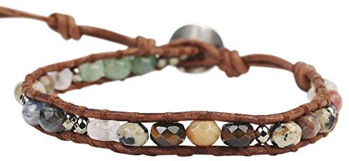 Chan Luu Multi Mix of Semi Precious Stones on a Single Brown Leather Wrap Bracelet