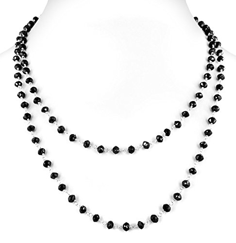 Barishh Cwerified 100 Cts 4mm 36 inches Black diamond Beads Necklace with Silver wire by Barishh