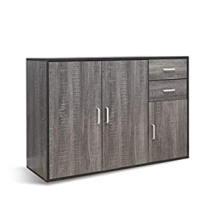 Mondeer Sideboard, Storage Cabinet Wooden 3 Doors and 2 Drawers for Dining Room Living Room, Grey