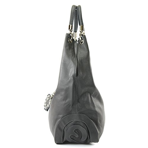 Sac bandoulière in cuir Made sac Farbe femme sac Präzise Italy sac cuir modamoda sac italien Dunkelgrau Farbe Nappaleder à à main de nur 330A PqI6vwE