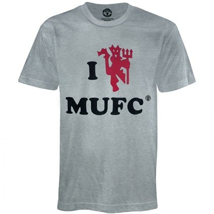 Manchester United Football Club Official Soccer Gift 'I Love' T-shirt Grey XXL