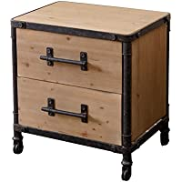 Abbyson Westwood Industrial 2 Drawer Nightstand, Natural Distressed
