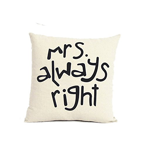 """MRS Always Right"" Lovers Pillow Covers Vintage Cushion Cove"