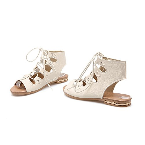 Amoonyfashion Damesschoenen Pu Lage Hak Open Teen Massief Sandalen Met Veters Beige