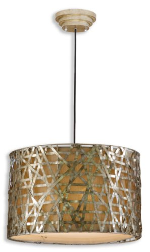 """Uttermost 21108 Alita Champagne Metal Hanging Shade, 14.3"""" L,"""