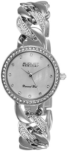 August Steiner Women's AS8190SS Silver Crystal Accented Quartz Watch with White Mother of Pearl Dial and Silver Bracelet