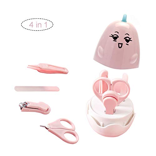 Baby Manicure Set by RYZW, Baby Grooming Kit with Chicken Case, Baby Nail Clippers, Scissor, File, Tweezer, 4 in 1 Baby Nail Care Kit for Newborn, Infant, Toddler, Kids (Pink) - Grooming 4in 1 Comb