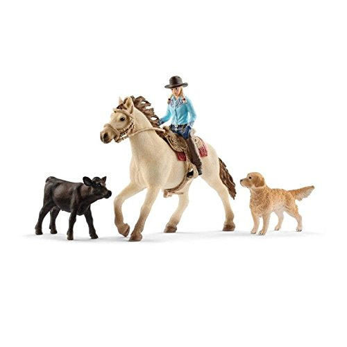Action Figures /& Statues Schleich North America Barrel Racing Cowgirl Playset