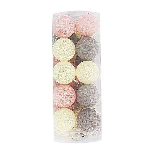 (Dot Record Decorative Mini 2.3-inch Cotton Ball Sting Light, 20 Balls, Battery Powered, 9ft (Beige))