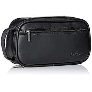 Ben Sherman Men's Mayfair Grainy Pvc Bucket Style Single Compartment Zip Around Travel Kit, Black
