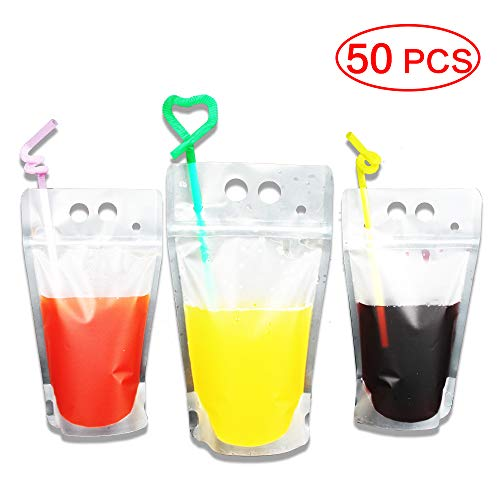 (50 Pack Drink Bags Stand up Reclosable Zipper Drinking Pouches Bags Hand-held Drinking Bags with Plastic Straw, 5.1 by 9.1 Inches 8mil)