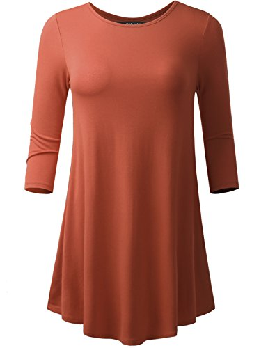 A.F.Y All For You Women's 3/4 Sleeve Round Neck Flare Hem Tunic Mauve Large (Juniors Orange Dial)