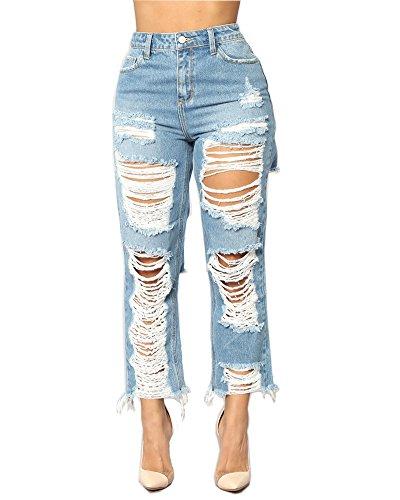 Matita Strappati Cerniera Sciolto Donna Chiaro Zhuikuna Tasca Casuale Pantaloni Azzurro Jeans E 8qZXwx7