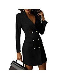 Connoworld Formal Dress: Office Lady Lapel V Neck Double Breasted Long Sleeve Blazer Bodycon Mini Dress - White S
