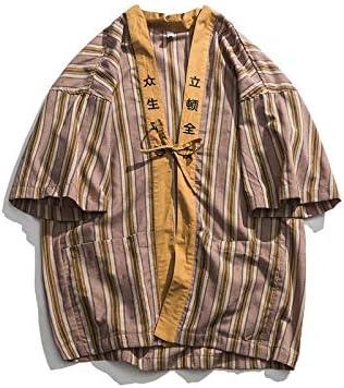 DXHNIIS Camisa de Kimono a Rayas Hombres Verano Puntada Abierta Camisas de Hombre de Gran tamaño Camisas para Hombres de Estilo japonés Kimono Caqui: Amazon.es: Deportes y aire libre