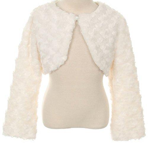 Little Girls Fluffy Faux Fur Swirl Bolero Jacket Winter Knit Sweater Ivory 10 (S03K)