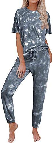 DAOD Women's Pajama Sleepwear Set,Gray Print Short Sleeve Lounge Wear Homewear Suit Loungewear Set Women Sleep Sleepwear Autumn Winter Homewear Christmas Clothing,M