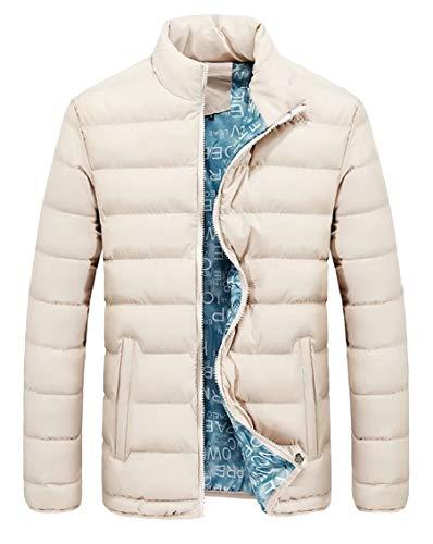 Gocgt Men Zipper Sleeve Jacket Stand Coat Neck Down Khaki Thicken Winter Long wFOaAq4w