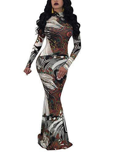 Women's Floral Sexy Midi Juniors Dress Casual Bodycon Long Sleeve Club Outfits