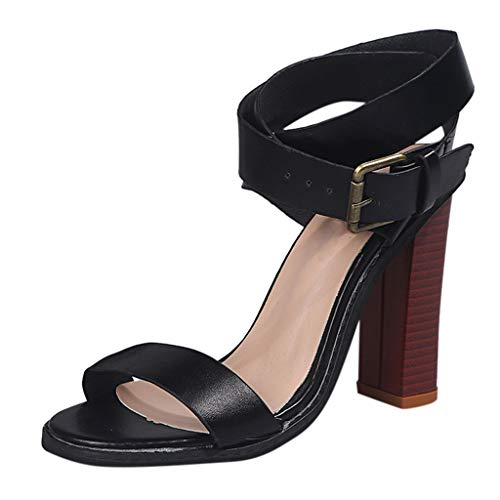 ✔ Hypothesis_X ☎ Women's Ankle Strap Platform High Chunky Heels Party Sandal Open Toe Square High Heels Sandals Black