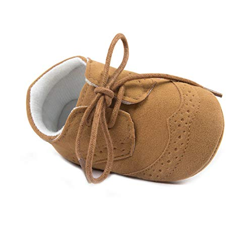 Anrenity Toddlers for Girls Boys Lace up Moccasins Prewalker Sneakers Christening Baptism Dress Shoes JDX-001BR Brown 0-6 Months