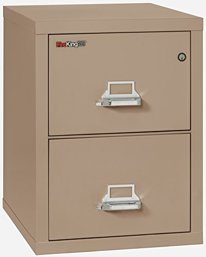 Taupe Vertical File Cabinet (Fireking Fireproof Vertical File Cabinet (2 Legal Sized Drawers, Impact Resistant, Waterproof), 27.75