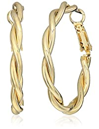 T Tahari Twist Tube Clutchless Hoop Earrings