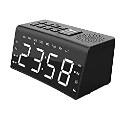 Alarm Clock Radio, FM Digital Radio Clock with Dual Alarms, Snooze, 6.5'' LED Display, Adjustable Brightness, USB Charge Port, Sleep Timer, 12/24H, DST, Temp, Battery Back Bedroom Clocks