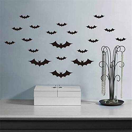 Uyeai Quotes Vinyl Wall Art Decals Saying Words Removable Lettering Creative Halloween Party 20Pcs Pack Black Decorative Bats Butterfly Decor Home -