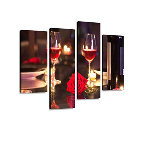 (Romantic Candlelight Dinner Canvas Wall Art Hanging Paintings Modern Artwork Abstract Picture Prints Home Decoration Gift Unique Designed Framed 4 Panel)