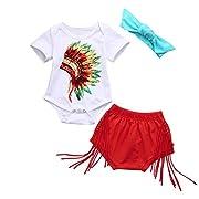 Connia Newborn Infant Fashion Outfits Set Baby Girls Boys Indian Print Romper Shorts Headband Clothes Set 3Pcs (Size:6M)