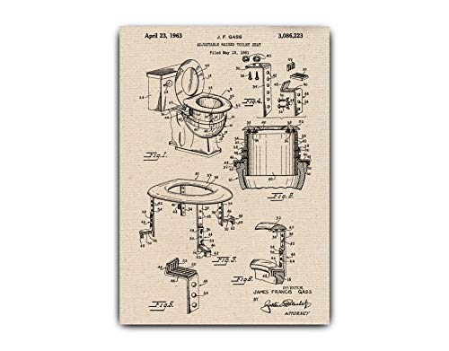 Greta Oto Adjustable Raised Toilet Seat Original Drawings Patent Print - Wall Art Decor, Print on Canvas, Vintage Prints, Toilet-seat-001 (A4-8.3 x 11.7 inch)