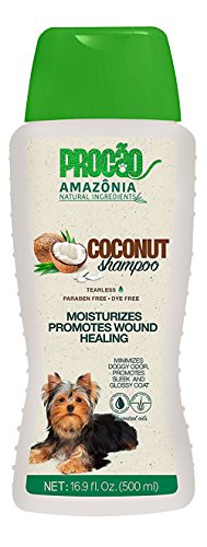 PROCÃ\u0083O Pet Shampoo Coconut Shampoo (16.9 oz) - Soothe and Heal Your Pet - All Natural - Sustainably Sourced from Amazon Rainforest - No Parabens or Dyes - Extra Moisturizing - Tearless