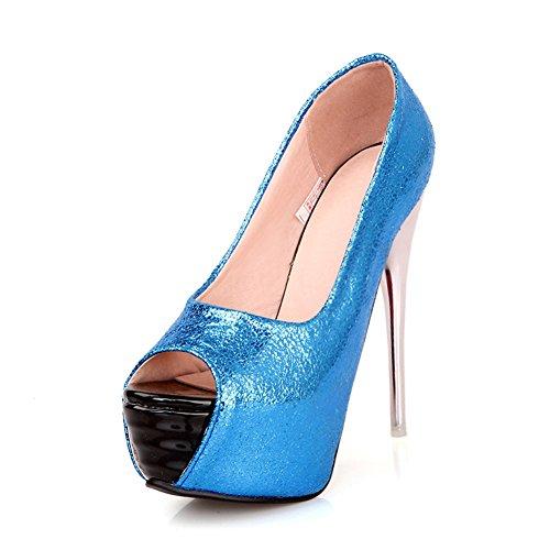Plate-forme Fereshte Femmes Super Talons Hauts Stiletto Sandales Slip-on Pompes Peep-toe Pour La Fête De Mariage Bleu