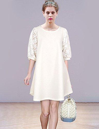 GSP-Damen Kleid - Lose Übergröße / Sexy Patchwork Mini Polyester Rundhalsausschnitt
