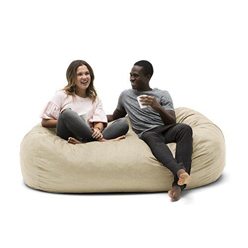 Big Joe 0002659 Media Lounger Foam Filled Bean Bag Chair, Oat Lenox