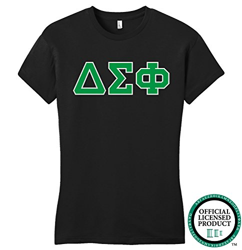 DELTA SIGMA PHI | Green Letters - Licensed Fitted Ladies' T-shirt-Ladies,