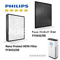 Philips AC3256 NanoProtect 3000 Series True HEPA Filter FY3433 + Activated Carbon FY3432 SET for Air Purifier