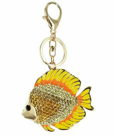 Twinkle - Fish Keychain - Ocean Bound Key Chain Purse Charm Keyring Collection (Yellow)