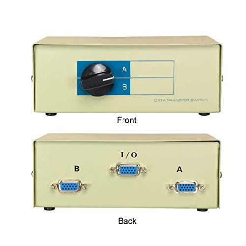 KENTEK VGA HD15 2 Way Manual Data Switch Box 15 Pin Female I/O AB Port for PC MAC to Video Display - Way 2 Manual Switch Data