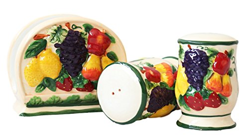 3-D MIxed Fruit Ceramic Salt/Pepper & Napkin Holder, 87028 by ACK