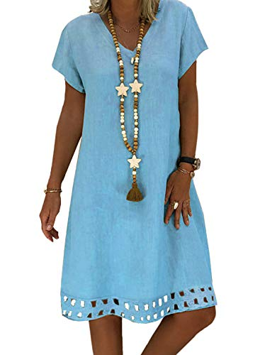 ROSKIKI Summer Dresses for Women Short Sleeve Casual Loose Fit Shift Dresses Knee Length V Neck Fashion Beach Sundresses Blue S