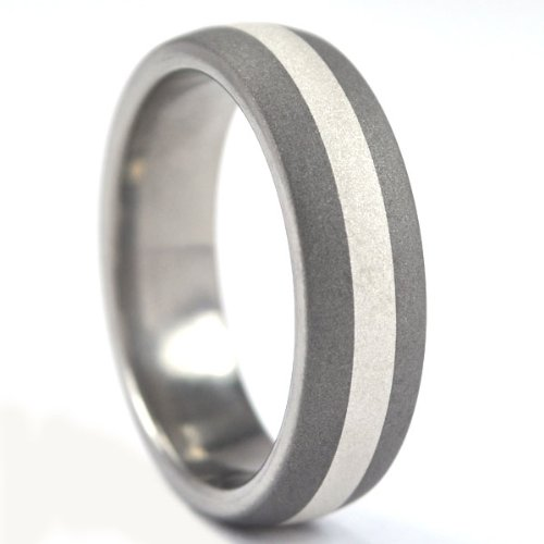 (6 mm Titanium Ring with Sterling Silver Inlay and Sand Blast Finish)