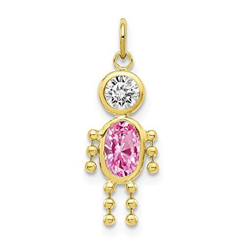 10k Yellow Gold October Boy Birthstone Pendant Charm Necklace Kid Fine Jewelry Gifts For Women For Her