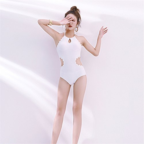 Wellenrand des Kragens des weißen Kragens Badeanzug Temperament war dünnen hohlen Badeanzug Damen Strand sexy Badeanzug, XL